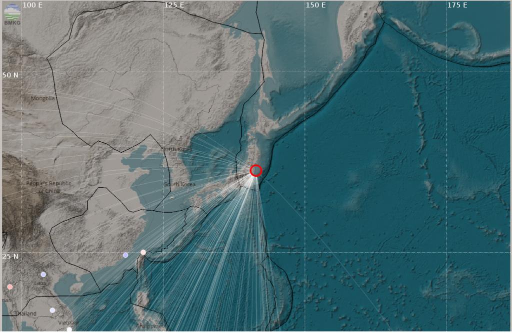 Gempabumi Jepang Tanggal 22 November 2016  Kekuatan Mw 6.8 Tidak Berpotensi Tsunami  Di Wilayah Indonesia