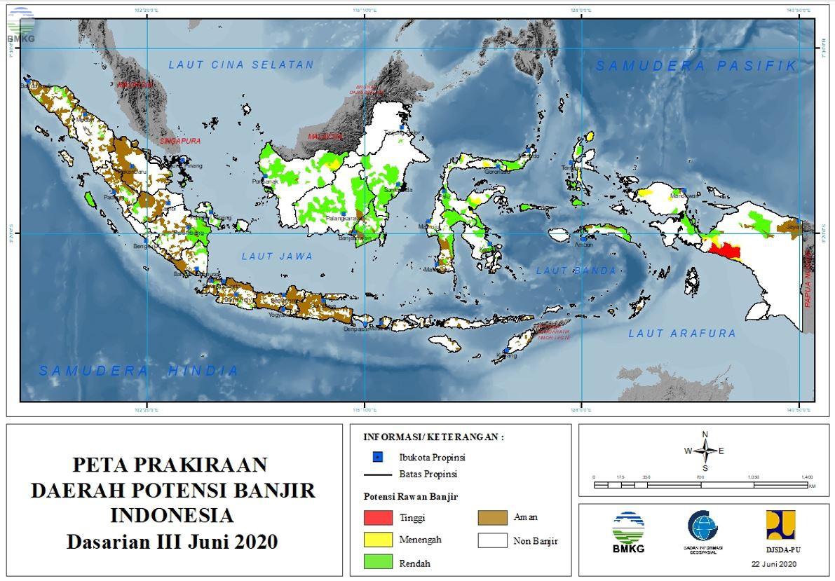 Prakiraan Daerah Potensi Banjir Dasarian III Juni dan Dasarian I -I Juli 2020