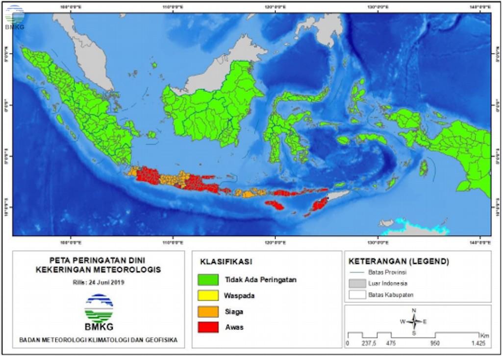 Potensi Kekeringan Meteorologis di Beberapa Wilayah di Indonesia