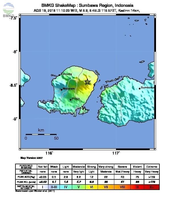 Gempa Susulan M=6.5 Kembali Guncang Pulau Lombok, Tidak Berpotensi Tsunami