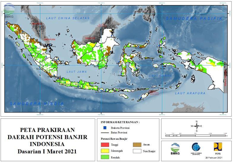 Prakiraan Daerah Potensi Banjir Dasarian I - III Maret 2021