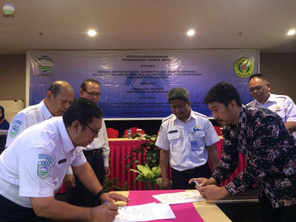 Penandatangan Kerjasama BBMKG Wilayah III dengan Universitas Mataram