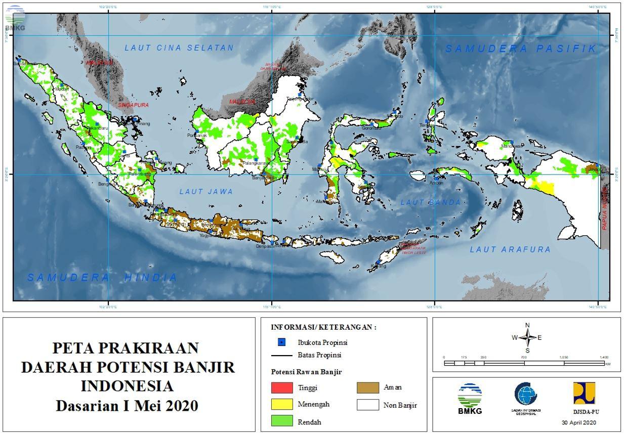 Prakiraan Daerah Potensi Banjir Dasarian  I - III Mei 2020