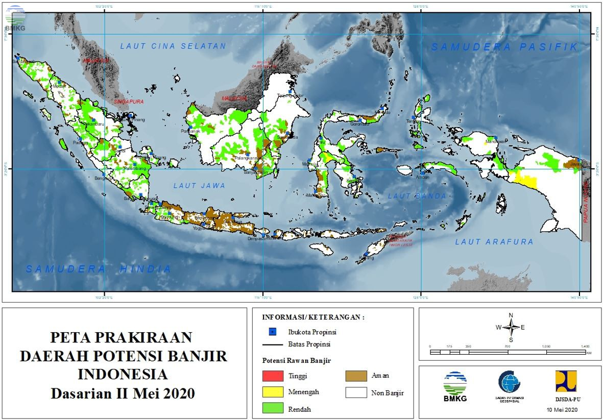 Prakiraan Daerah Potensi Banjir Dasarian II - III Mei, I Juni 2020