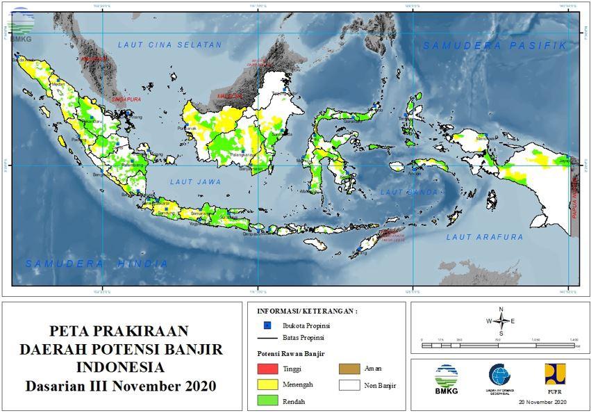 Prakiraan Daerah Potensi Banjir Dasarian III November dan Dasarian I-II Desember 2020