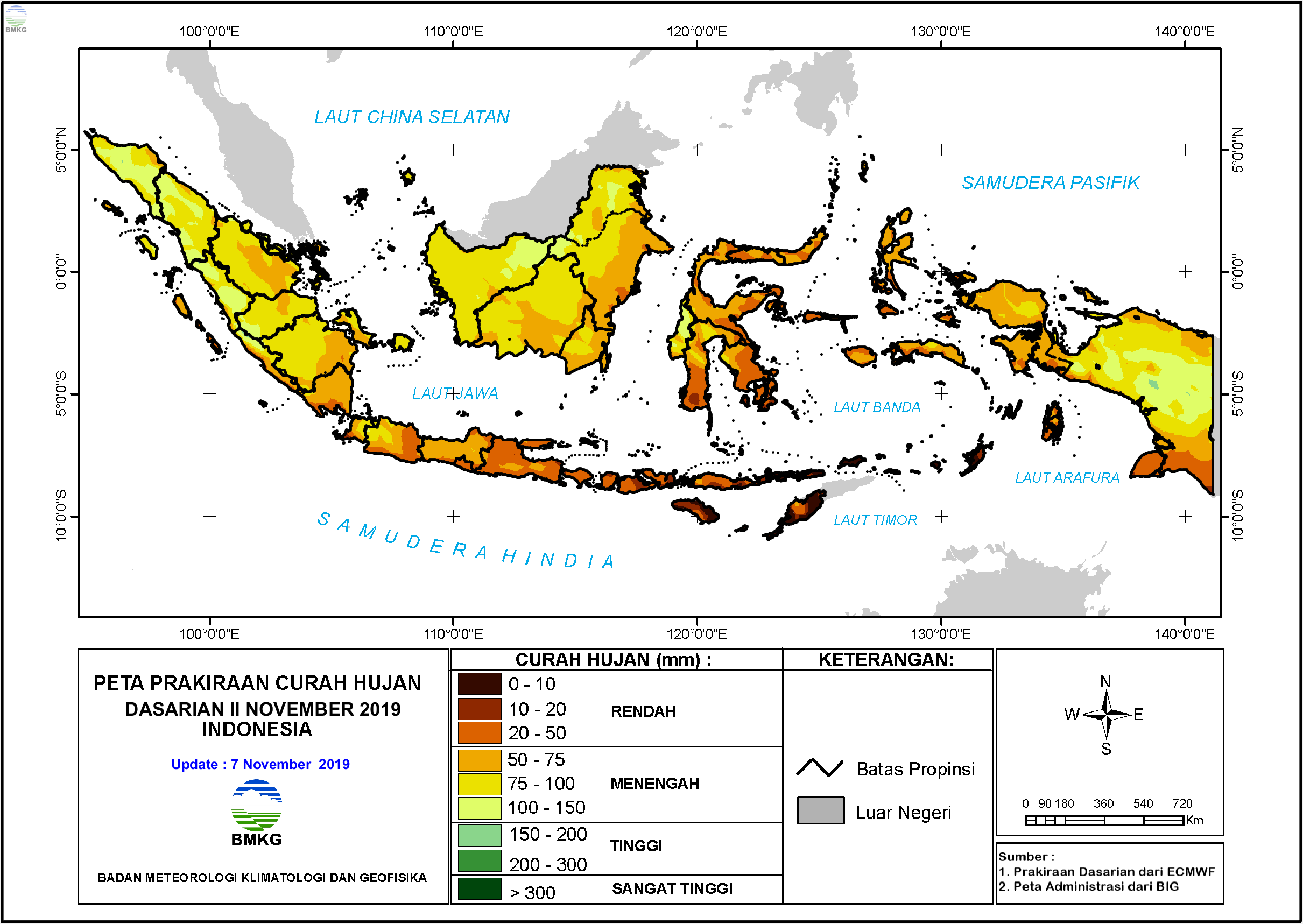 Prakiraan Hujan Dasarian II - III November dan I Desember 2019