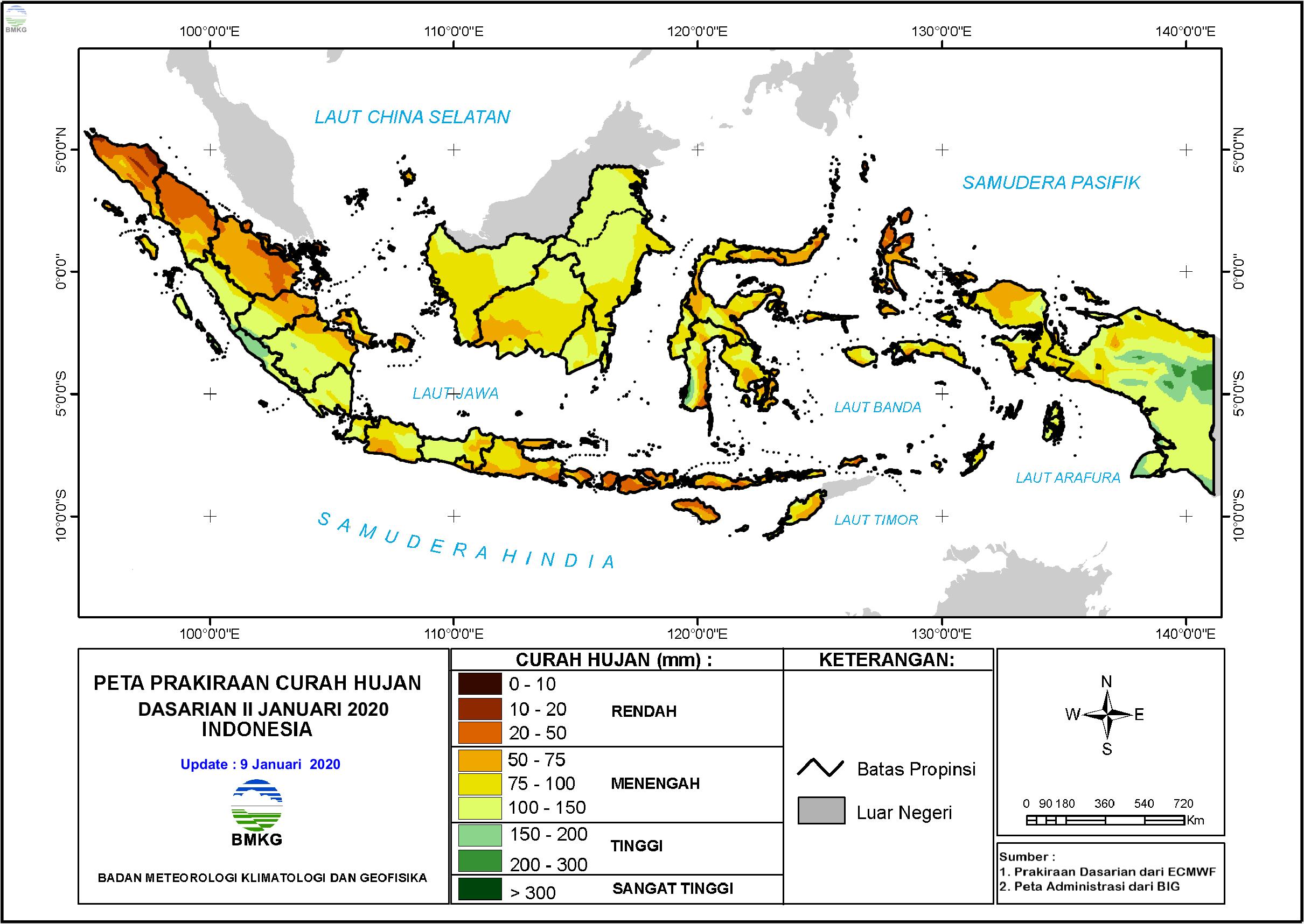 Prakiraan Hujan Dasarian II - III Januari dan I Februari 2020