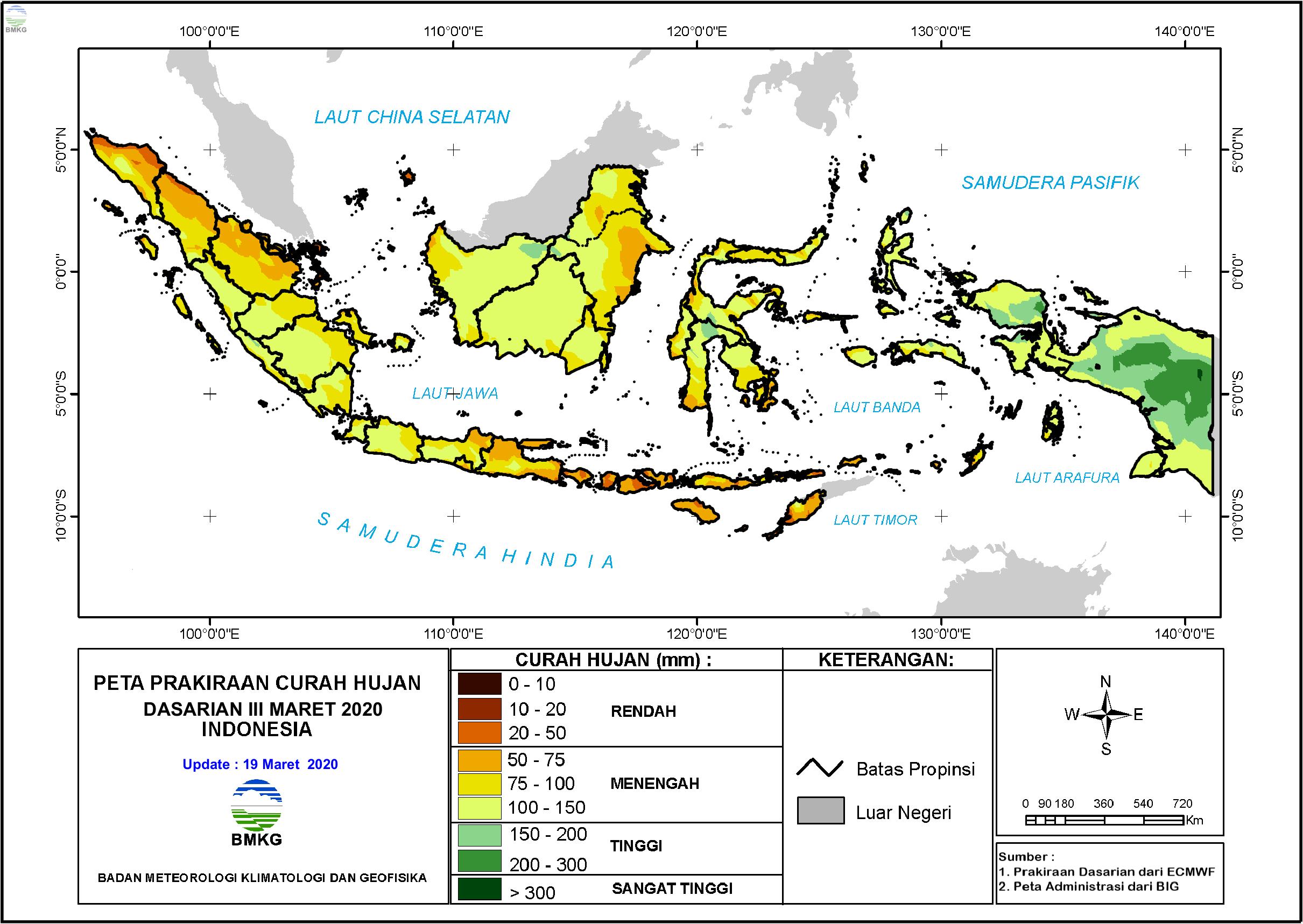 Prakiraan Hujan Dasarian III Maret dan I - II April 2020