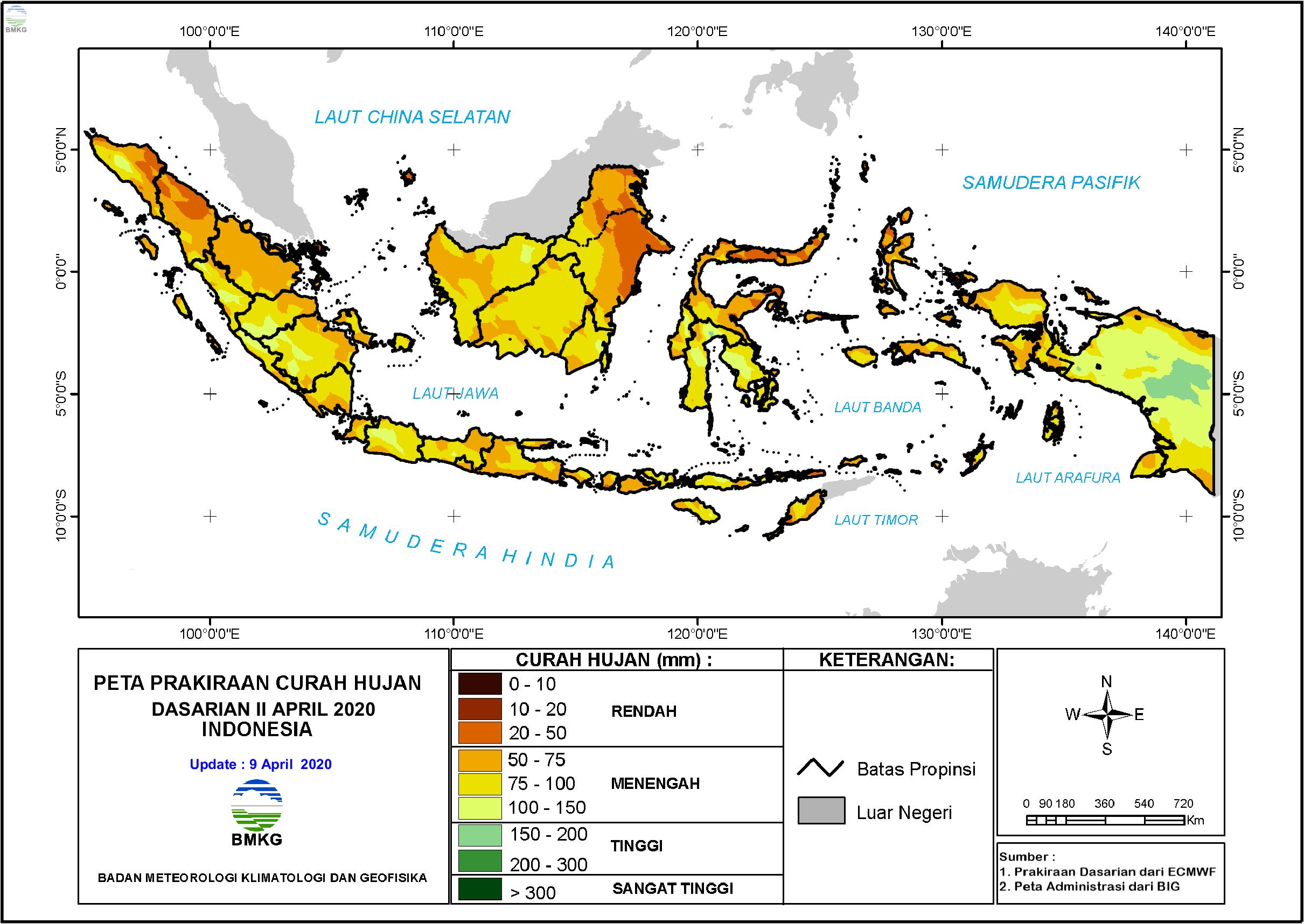 Prakiraan Hujan Dasarian II - III April dan I Mei 2020