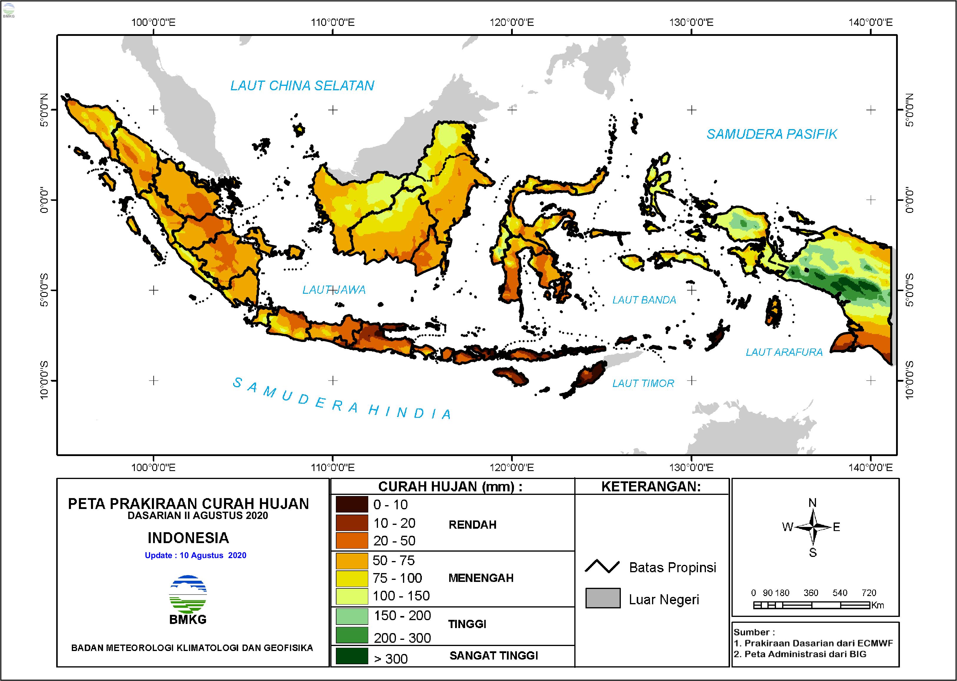 Prakiraan Hujan Dasarian II - III Agustus dan I September 2020