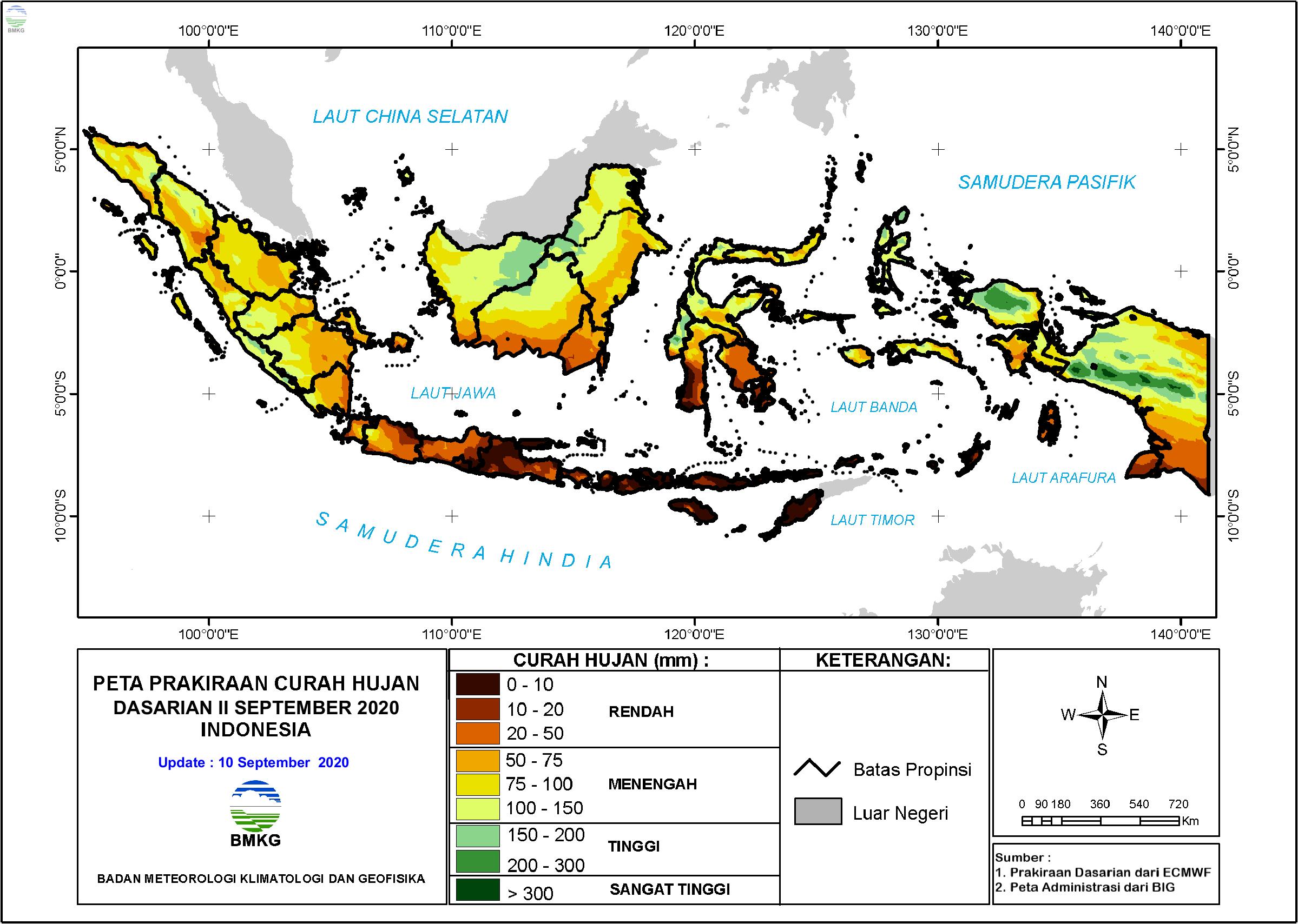 Prakiraan Hujan Dasarian II - III September dan I Oktober 2020