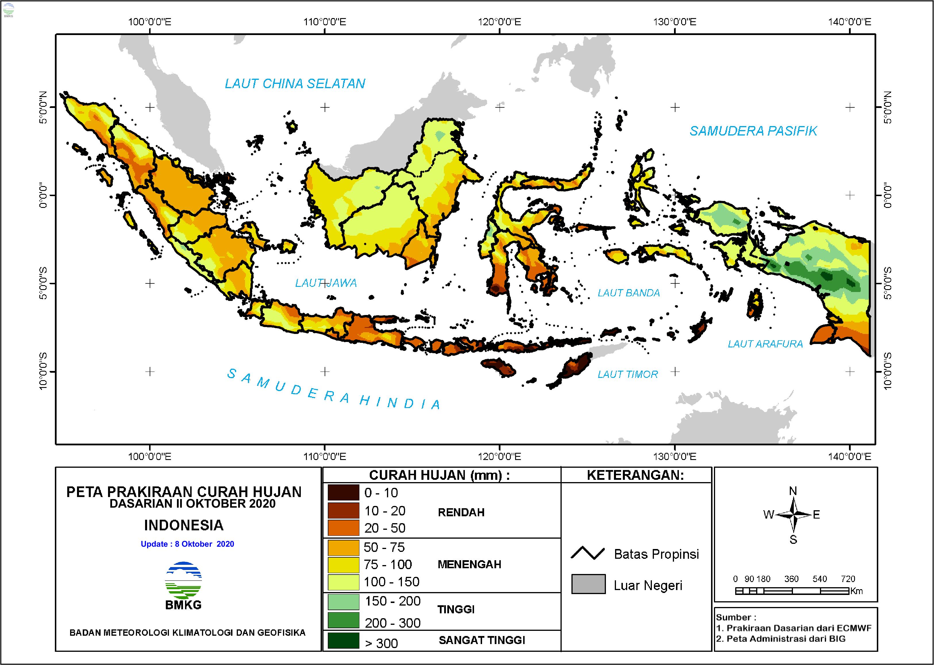 Prakiraan Hujan Dasarian II - III Oktober dan I November 2020