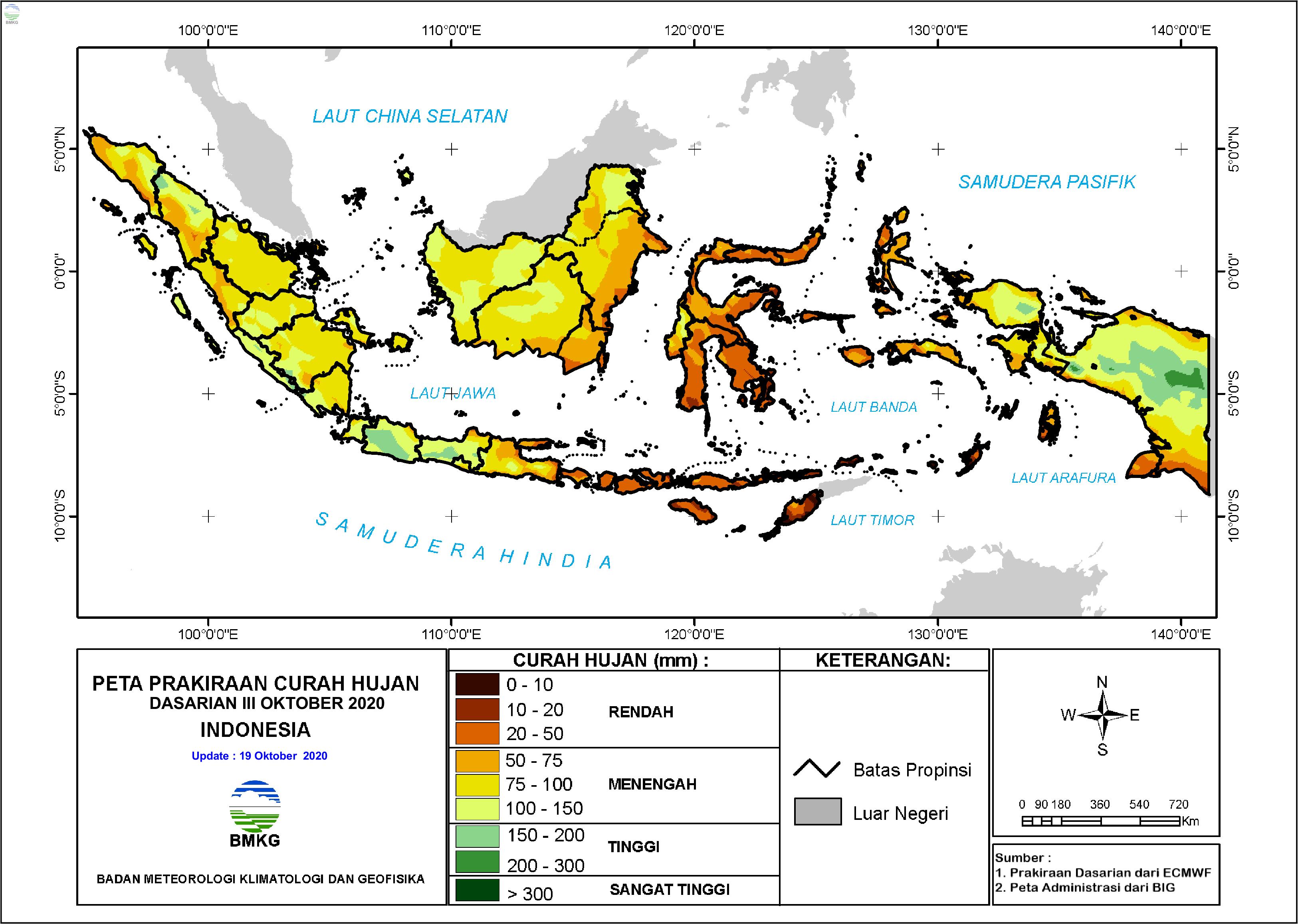 Prakiraan Hujan Dasarian III Oktober dan I - II November 2020