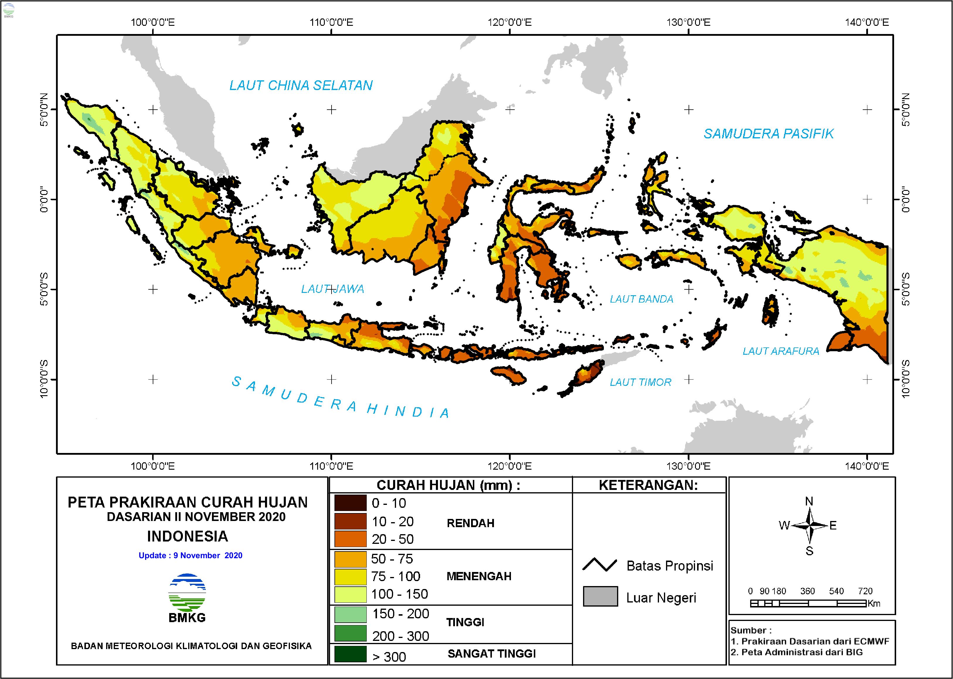 Prakiraan Hujan Dasarian II - III November dan I Desember 2020