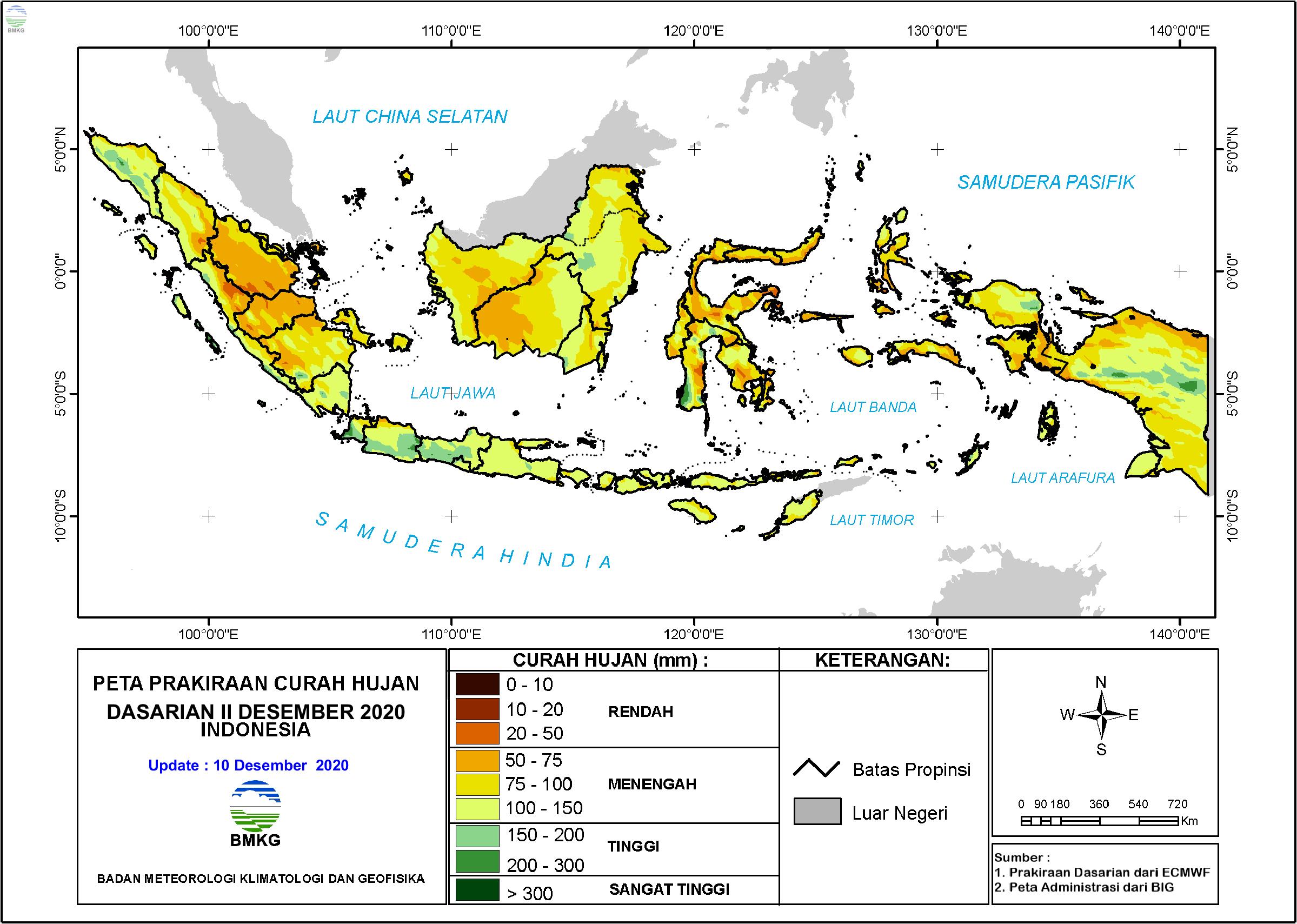 Prakiraan Curah Hujan Dasarian II-III Desember 2020 dan I Januari 2021