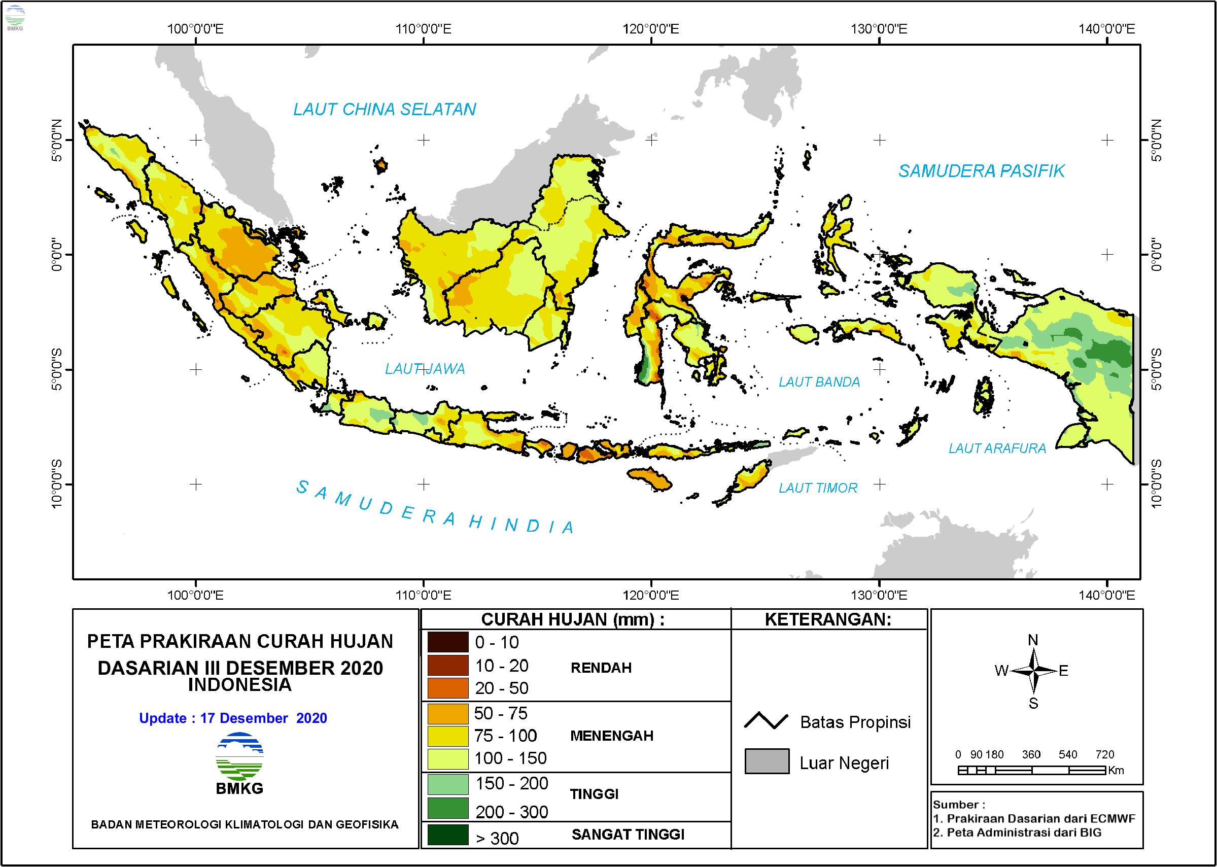Prakiraan Curah Hujan Dasarian III Desember 2020 dan I-II Januari 2021