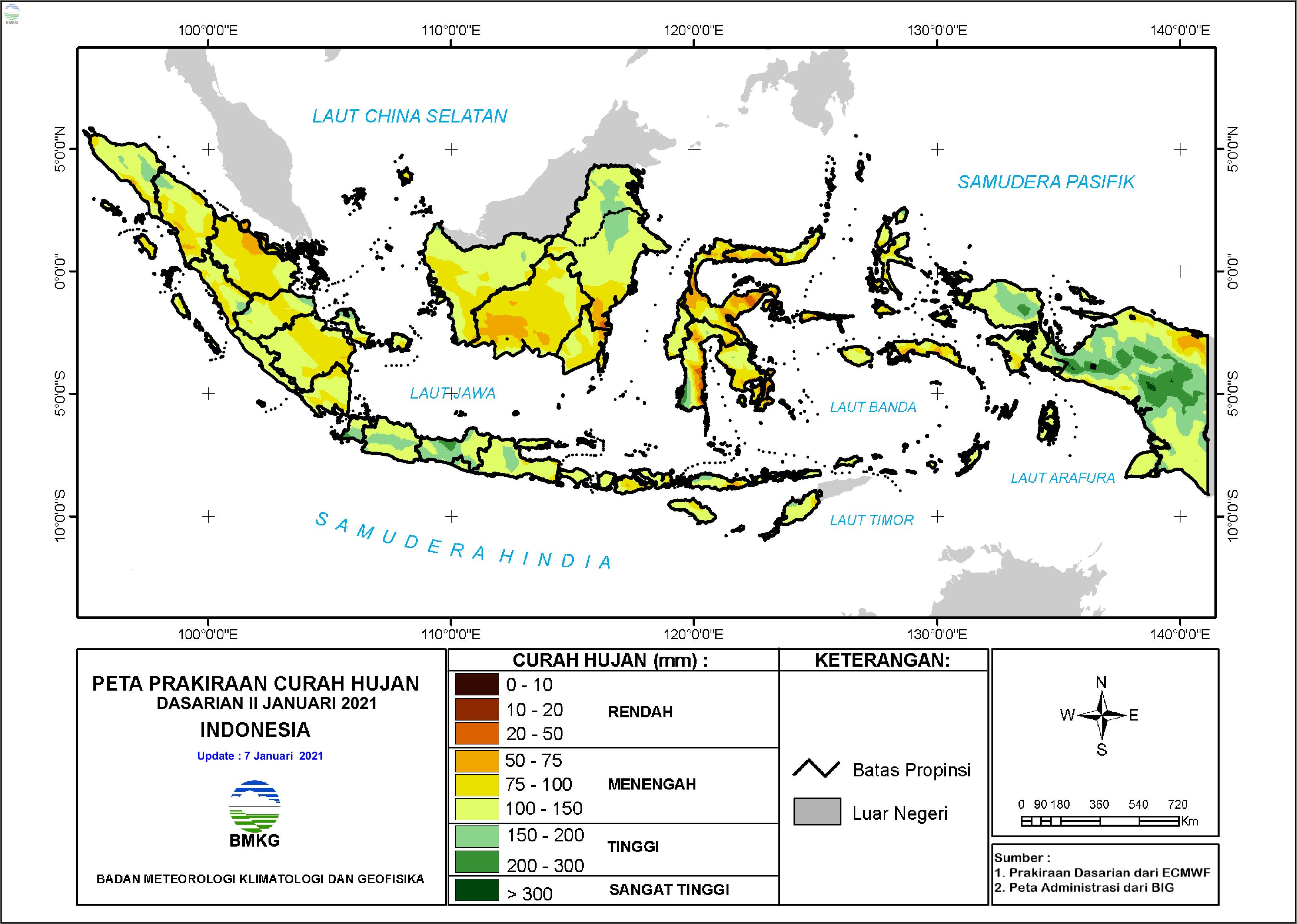 Prakiraan Curah Hujan Dasarian II-III Januari dan I Februari 2021