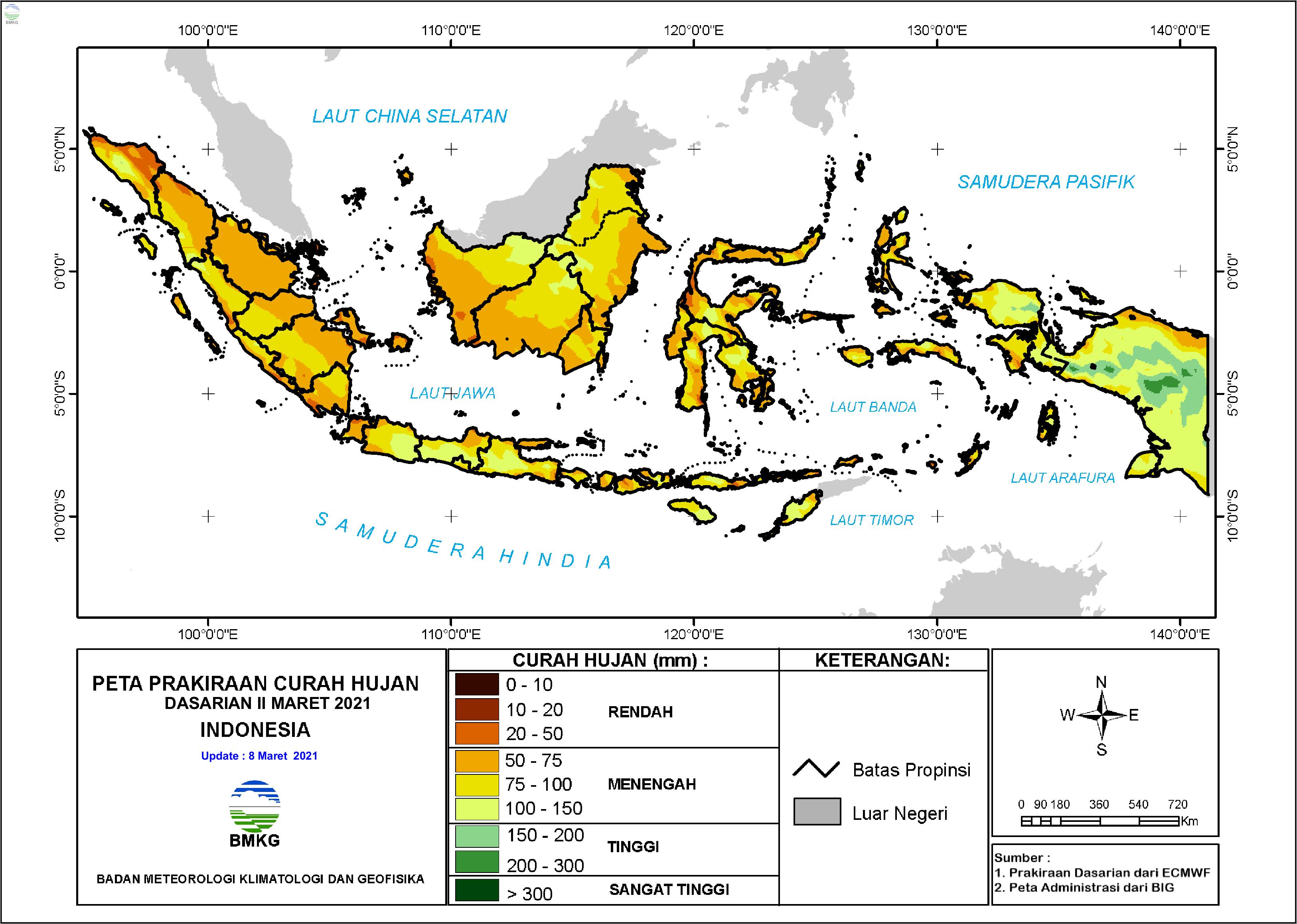 Prakiraan Curah Hujan Dasarian II-III Maret dan Dasarian I April 2021