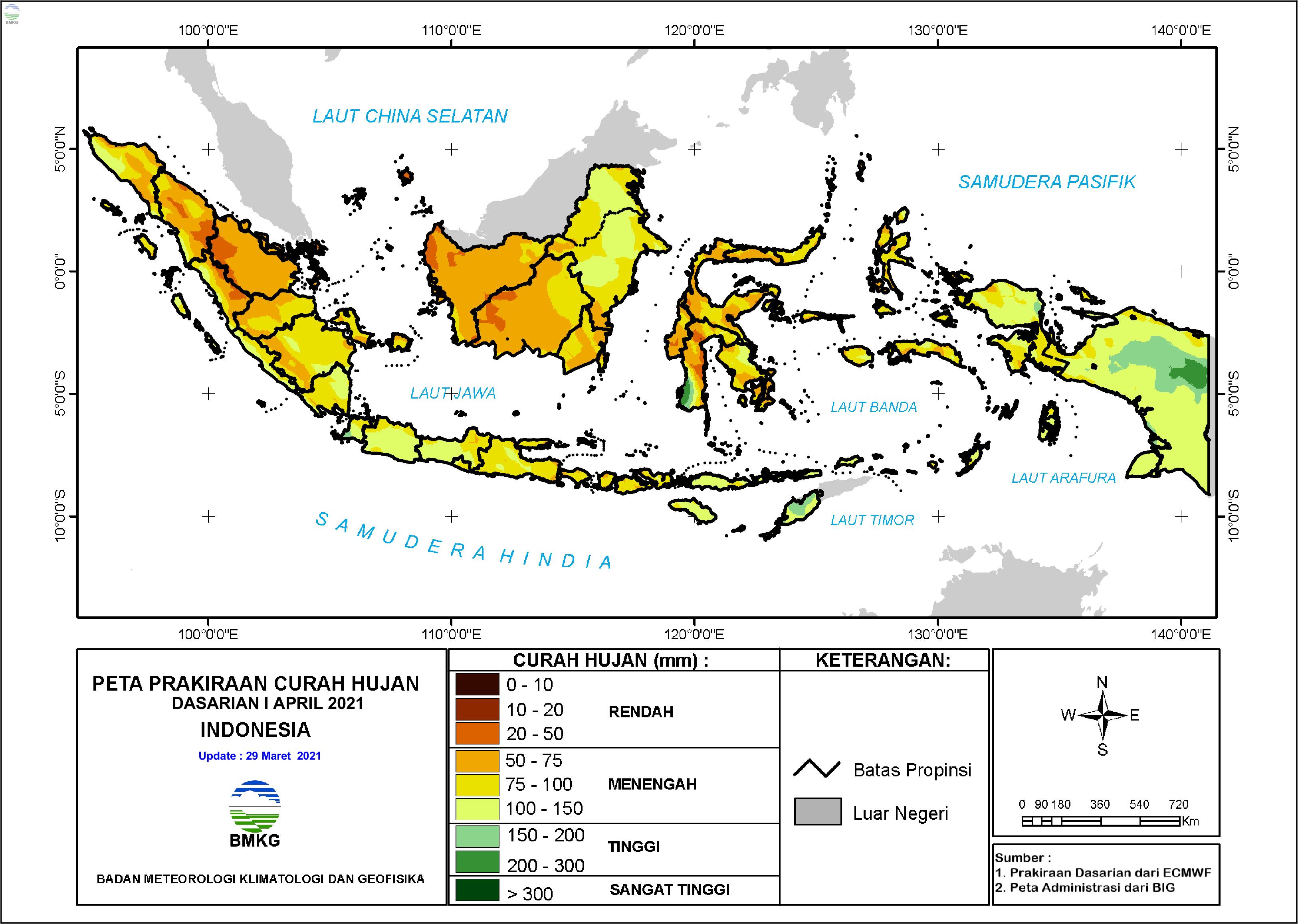 Prakiraan Curah Hujan Dasarian I-III April 2021