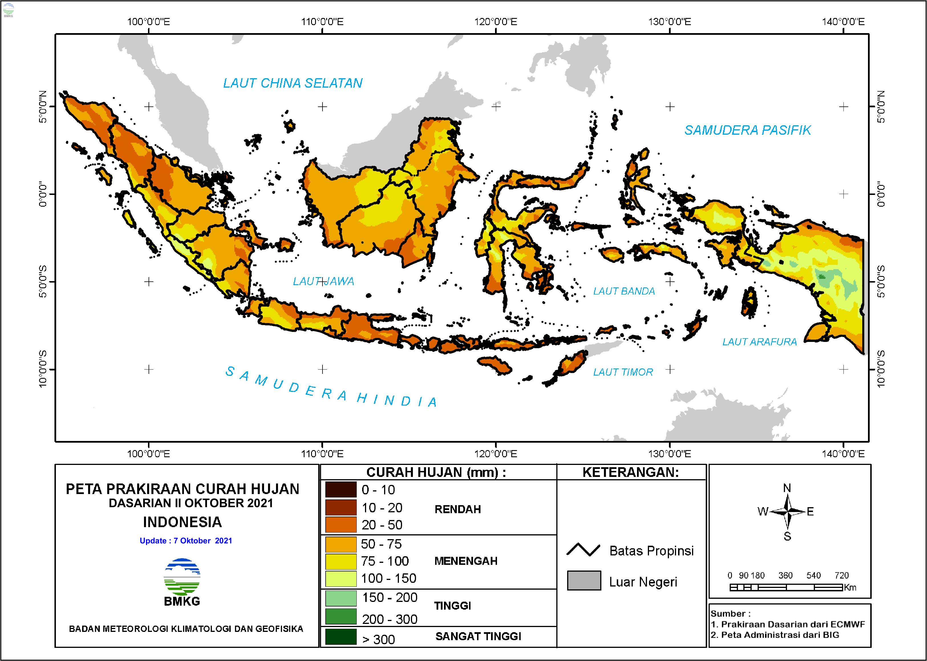 Prakiraan Curah Hujan Dasarian II-III Oktober dan I November 2021
