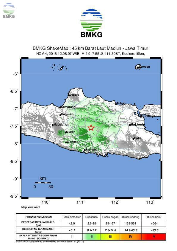 Gempabumi Tektonik Akibat Sesar Aktif Guncang Madiun dan Sekitarnya
