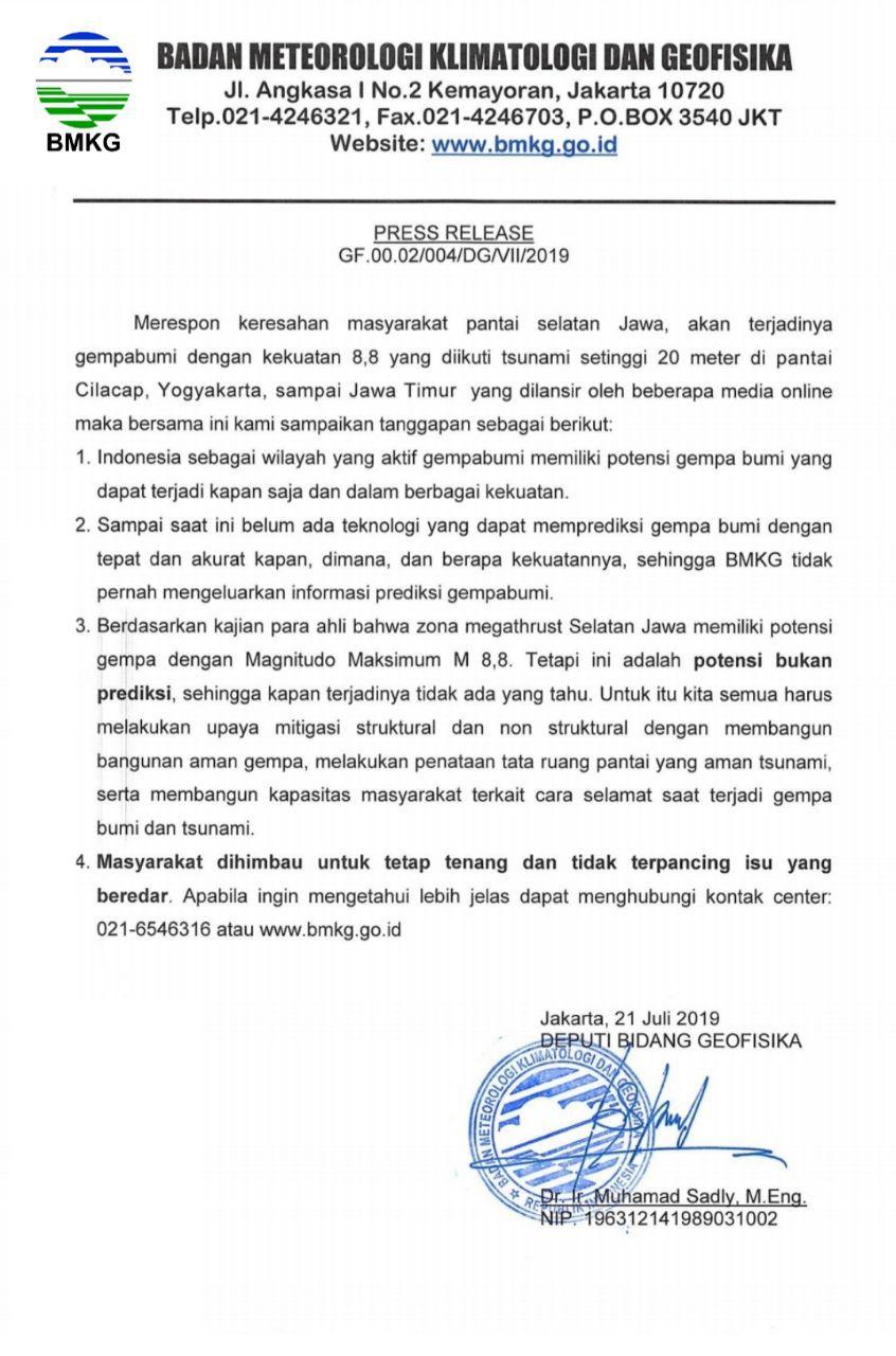 Respon BMKG Terhadap Isu Gempabumi M 8,8 dan Tsunami di Pantai Selatan Jawa
