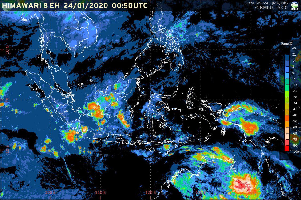 Pemutakhiran Rilis BMKG: Waspada Potensi Hujan Lebat (24-29 Januari 2020)