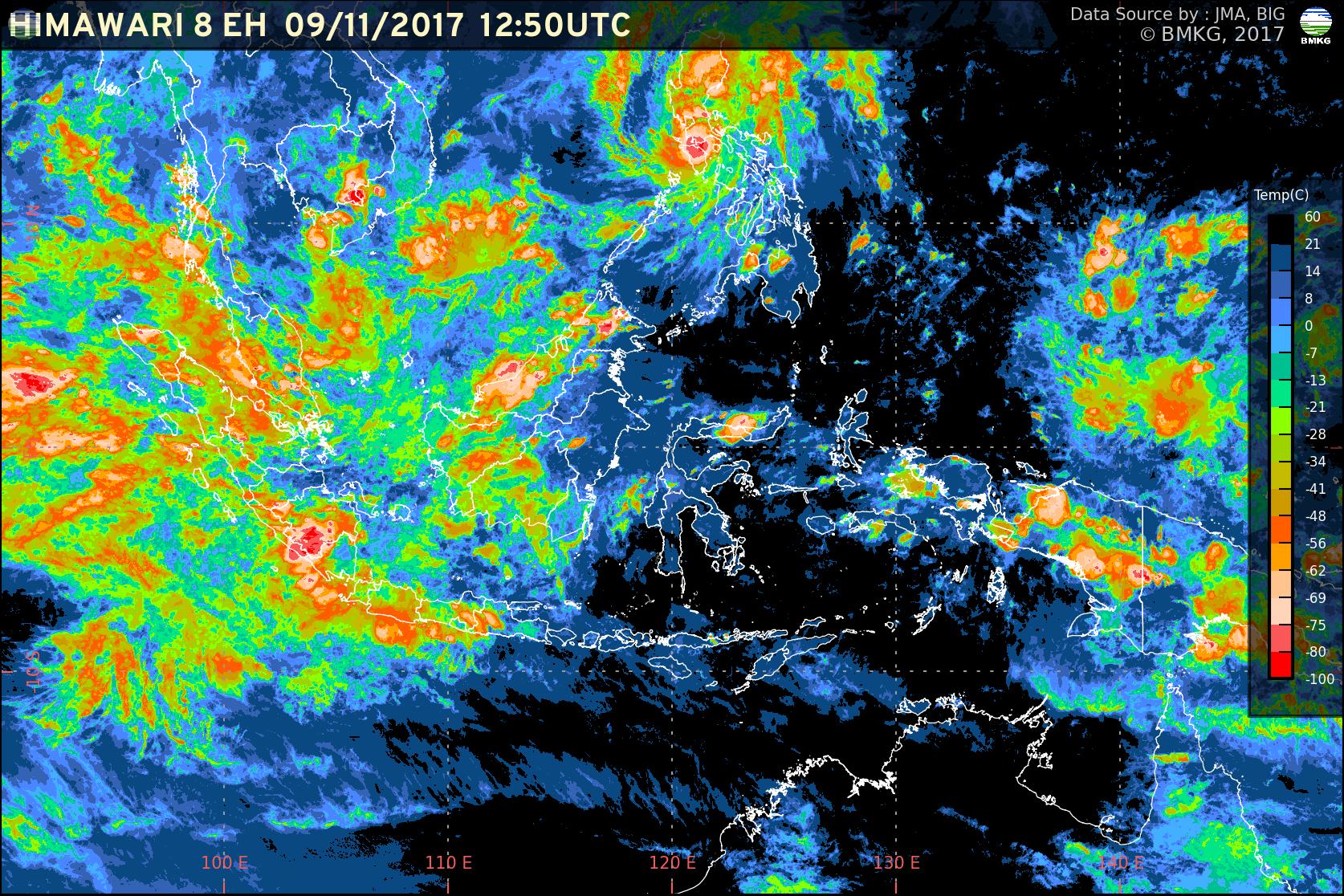 Waspada Peningkatan Potensi Hujan Lebat dan Gelombang Tinggi di Wilayah Indonesia (10-12 November 2017)