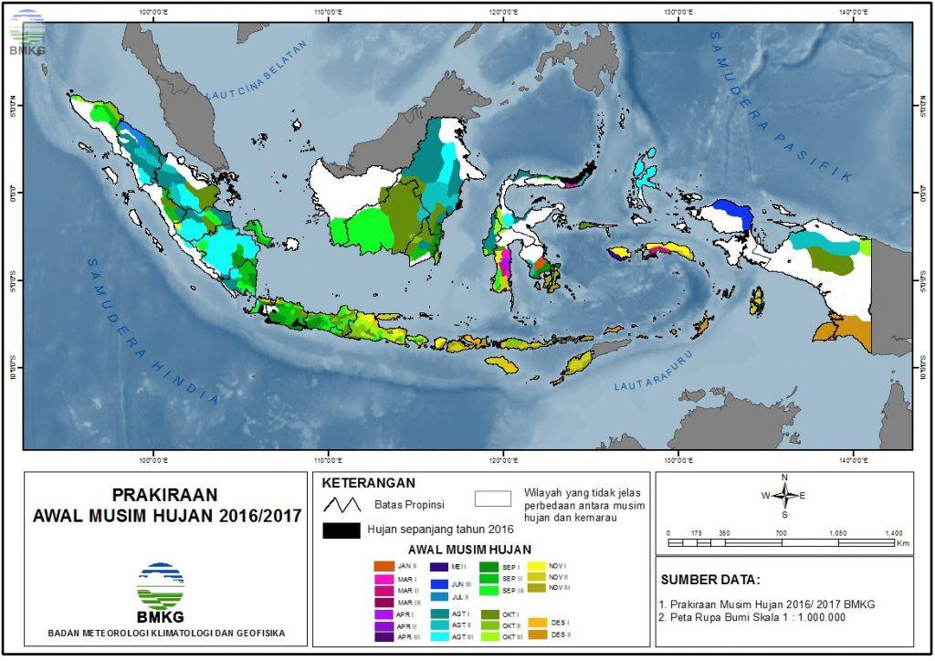 Prakiraan Musim Hujan 2016/2017 Di Indonesia