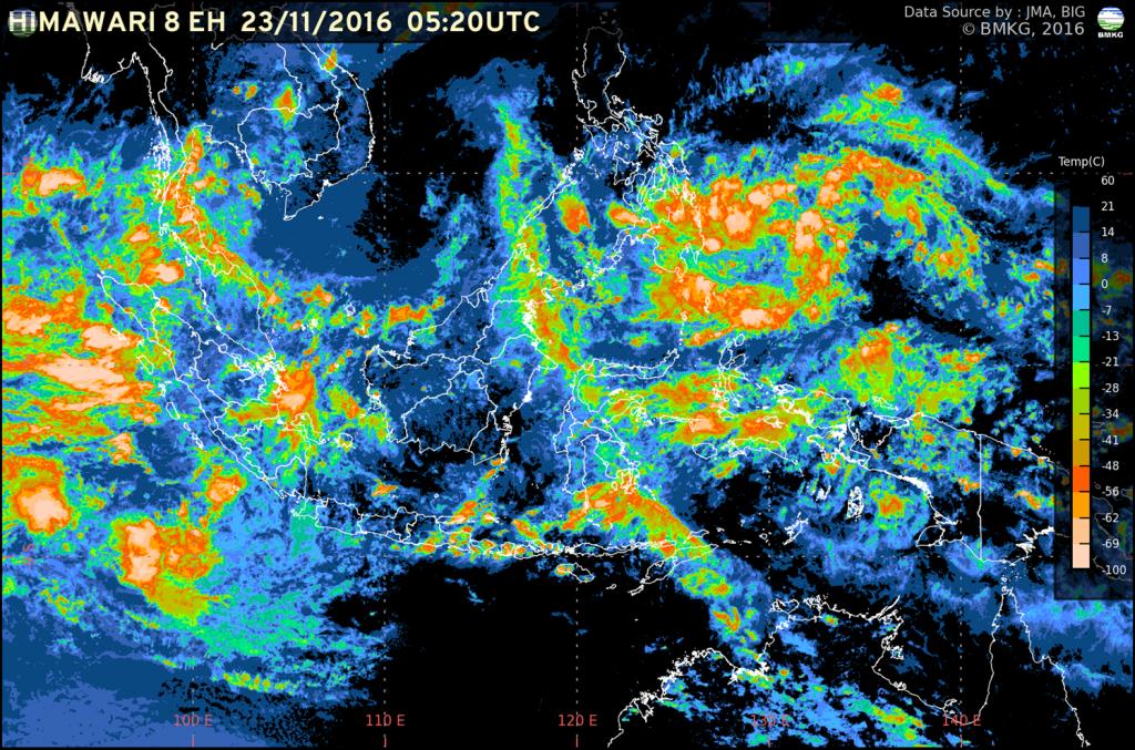 Peningkatan Potensi Hujan Lebat di Wilayah Indonesia 24 - 26 November 2016