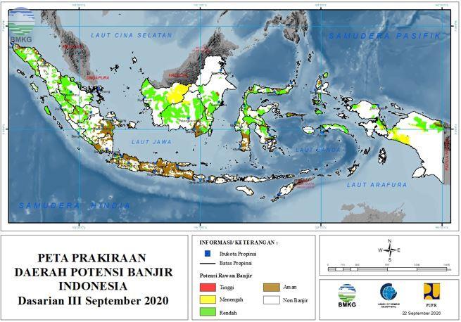 Prakiraan Daerah Potensi Banjir Dasarian III September dan Dasarian I-II Oktober 2020