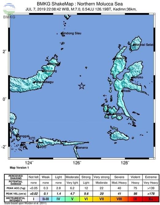 Ulasan Guncangan Tanah Akibat  Gempabumi Di Laut Maluku Utara 07 Juli 2019