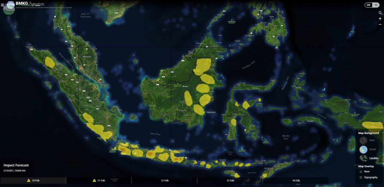 Waspada Potensi Cuaca Ekstrem Sepekan ke Depan (10-16 Februari 2021)