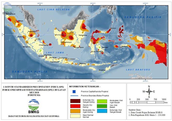 The Standardized Precipitation Index (SPI) Maret - Mei 2018