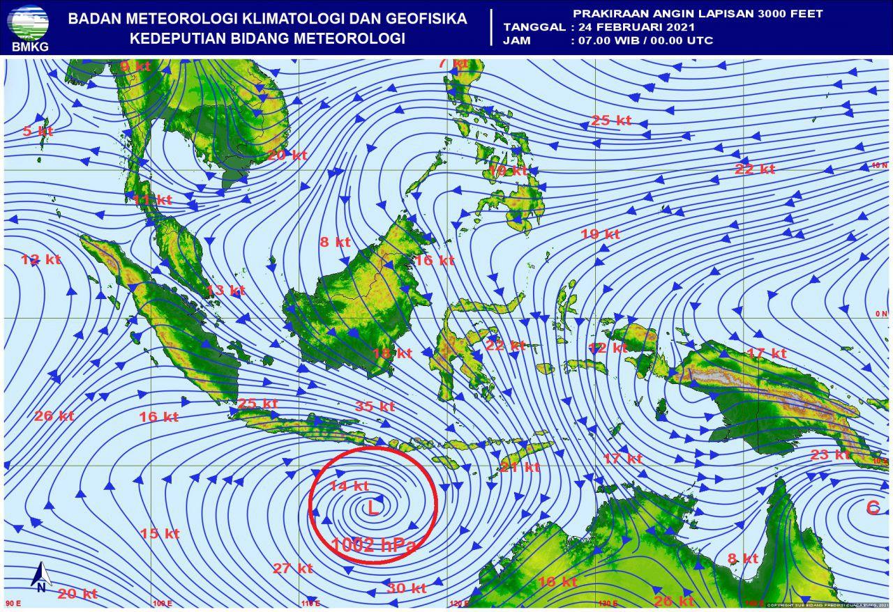 BMKG: Deteksi Potensi Bibit Siklon Tropis di Samudra Hindia Selatan Jawa-Nusa Tenggara (Update 23 Februari 2021)