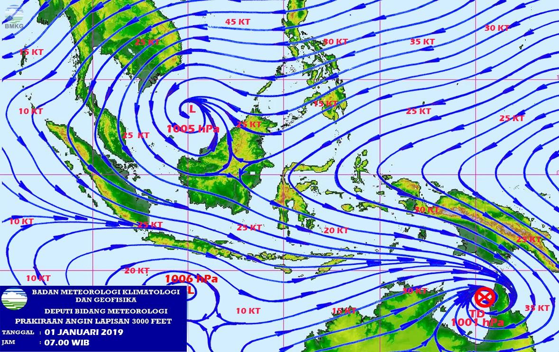 Potensi Angin Kencang Masih Melanda Wilayah Indonesia, Masyarakat Diimbau Tetap Waspada (01 - 06 Januari 2019)
