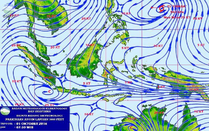 Waspada Potensi Hujan Lebat di Wilayah Indonesia 30 September - 3 Oktober 2016
